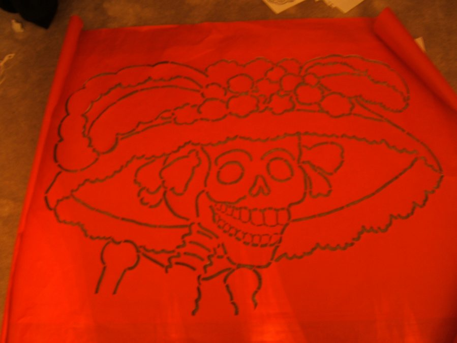 Sidewalk art for Day of the Dead at OMCA
